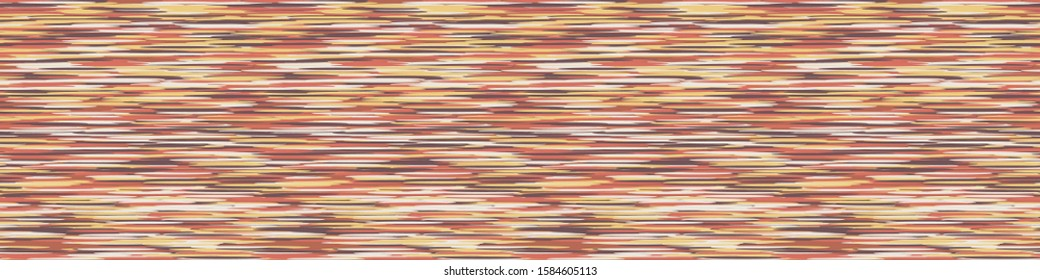 Blotched Space Dyed Ombre Background. Banner Texture. Mottled Line Effect Seamless Border Pattern. Vibrant Vertical Stripe Multicolored Heathered Melange Marl Edging Trim. Vector Ribbon Trim Eps 10