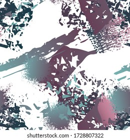 Blots Seamless Pattern. Fashion Concept. Distress Print. Maroon, Gray Illustration. Camo Surface Textile. Ink Stains. Spray Paint. Splash Blots. Artistic Creative Vector Background.