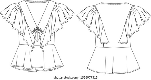 Blouse with ruffle, in front and back view, V neck