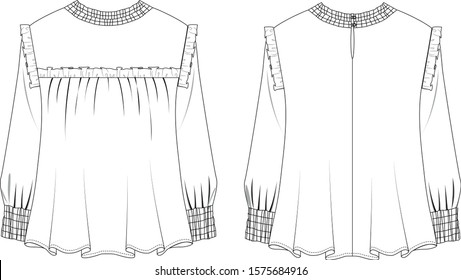Blouse ruffles in front and back view, vector illustration