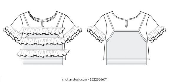Blouse with ruffles and short sleeves and another tank top underneath. The spring-summer season. Technical flat sketch. Vector illustration. - Vetorial