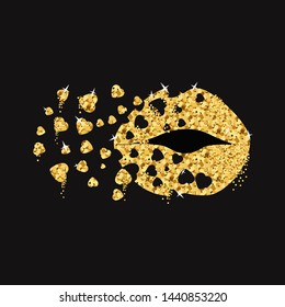 Blow chic kiss with gold hearts. Gold lips,lip,kiss,mouth. Gold closeup glamour kissing shaped lips. Golden kissing sexy girl lips isolated icon. Valentines day symbol,icon,logo. Vector illustration