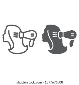 Blow dry line and glyph icon, hairdresser and blowdryer, hair dryer sign, vector graphics, a linear pattern on a white background, eps 10.