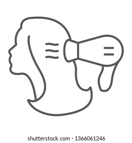 Blow dry thin line icon, hairdresser and blowdryer, hair dryer sign, vector graphics, a linear pattern on a white background, eps 10.