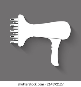 Blow Dryer icon - white illustration with shadow on gray background