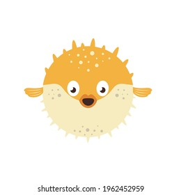 blow fish cartoon character isolated on white background, cute sea balloon fish, flat design with fugu