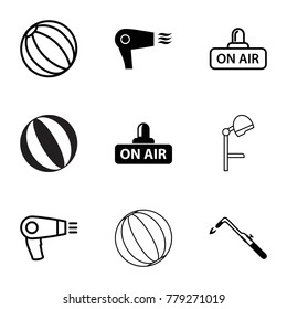Blow icons. set of 9 editable filled and outline blow icons such as blowtorch, open air, hair dryer, beach ball