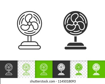 Blower black linear and silhouette icons. Thin line sign of ventilator. Fan outline pictogram isolated on white, color, transparent background. Vector Icon shape. Cooler simple symbol closeup