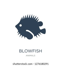 blowfish icon vector on white background, blowfish trendy filled icons from Animals collection, blowfish vector illustration