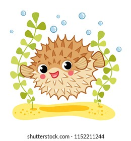 Blowfish isolated on white background cartoon character.