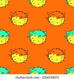 Blowfish seamless pattern. Original design for print or digital media.