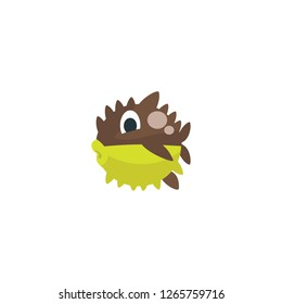 Blowfish vector isolated flat icon
