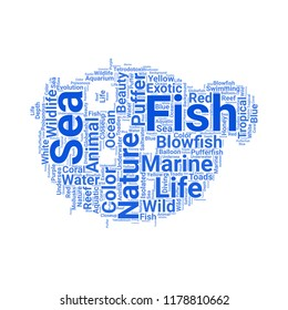 Blowfish word cloud vector design creative concept. Blowfish icon shape. Trendy vector word collection.