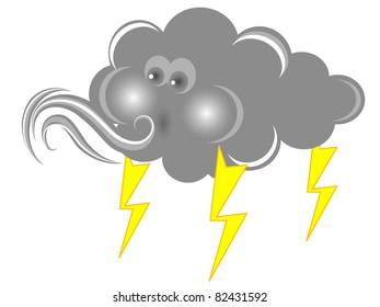 Blowing cloud in grey color