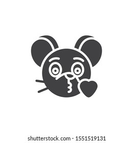 Blowing heart kiss rat emoticon vector icon. filled flat sign for mobile concept and web design. Kissing mouse face emoji glyph icon. Chinese 2020 year of the rat symbol, logo illustration.