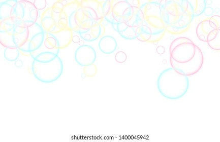 Blowing soap bubbles flying abstract illustration. Pink blue and yellow blurred rings. Kids bubbles for play. Cartoon purity background. Childish magic flying sheres.