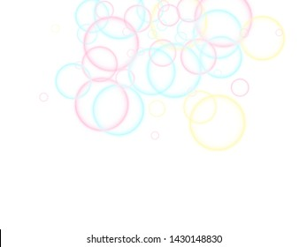 Blowing soap bubbles flying abstract illustration. Pink blue and yellow blurred rings. Children bubbles for play. Cartoon purity background. Girlish backdrop with round shapes.