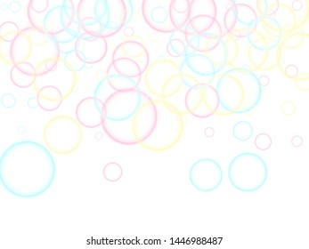 Blowing soap bubbles flying abstract illustration. Pink blue and yellow blurred rings. Children bubbles for play. Tender minimalist vector backdrop. Girlish backdrop with round shapes.