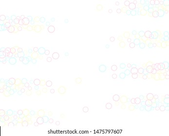 Blowing soap bubbles flying abstract illustration. Pink blue and yellow blurred rings. Kids bubbles for play. Pretty minimal background. Childish magic flying sheres.
