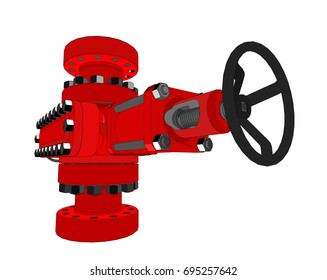 Blowout preventer. Vector rendering of 3d. Concept of the oil industry