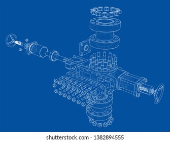 Blowout preventer. Wire frame style. Vector rendering of 3d. Concept of the oil industry