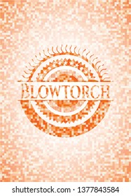 Blowtorch abstract orange mosaic emblem