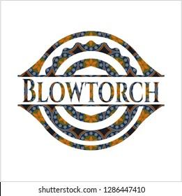 Blowtorch arabic badge. Arabesque decoration.