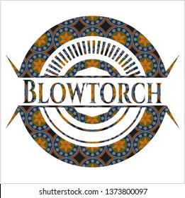 Blowtorch arabic badge background. Arabesque decoration.