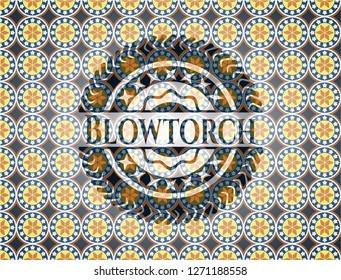 Blowtorch arabic style badge. Arabesque decoration.