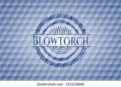 Blowtorch blue emblem with geometric pattern background.