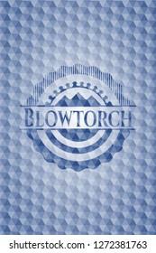 Blowtorch blue polygonal emblem.