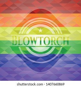 Blowtorch emblem on mosaic background with the colors of the LGBT flag