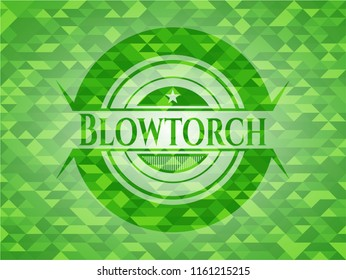 Blowtorch green emblem with mosaic background