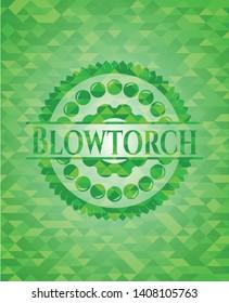Blowtorch green mosaic emblem. Vector Illustration. Detailed.