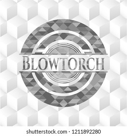 Blowtorch grey badge with geometric cube white background