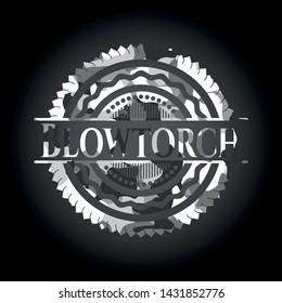 Blowtorch grey camo emblem. Vector Illustration.