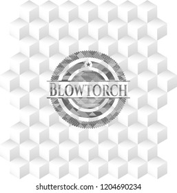 Blowtorch grey emblem with geometric cube white background