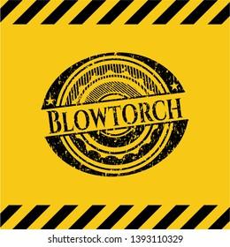 Blowtorch inside warning sign, black grunge emblem. Vector Illustration. Detailed.