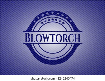 Blowtorch jean or denim emblem or badge background