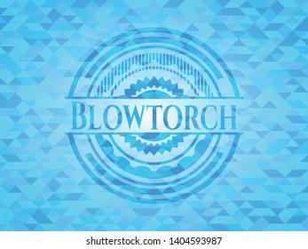 Blowtorch light blue mosaic emblem