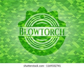 Blowtorch realistic green emblem. Mosaic background