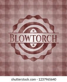 Blowtorch red seamless emblem with geometric pattern background.
