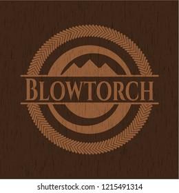 Blowtorch retro wood emblem