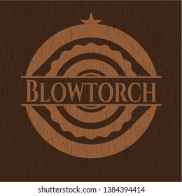 Blowtorch retro wooden emblem. Vector Illustration.
