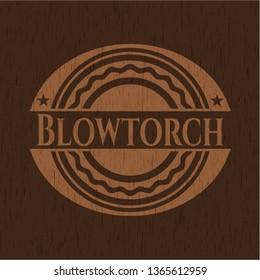 Blowtorch vintage wooden emblem