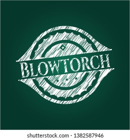 Blowtorch written with chalkboard texture. Vector Illustration. Detailed.