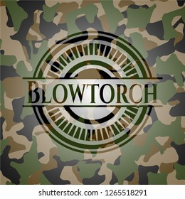 Blowtorch written on a camouflage texture