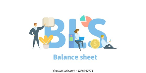 BLS, Balance Sheet. Concept with keywords, letters and icons. Colored flat vector illustration. Isolated on white background.