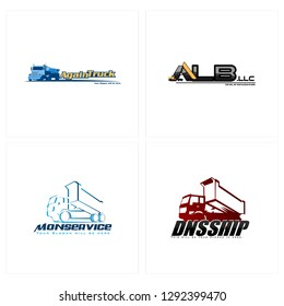 Blu red black line art truck combination mark logo design vector suitable for transport delivery toy store industrial