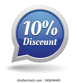 Blue 10 percent discount speech bubble